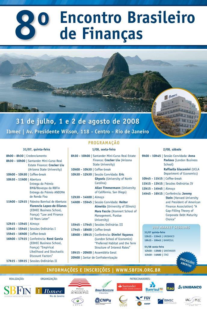 Programação 8º Encontro Brasileiro de Finanças