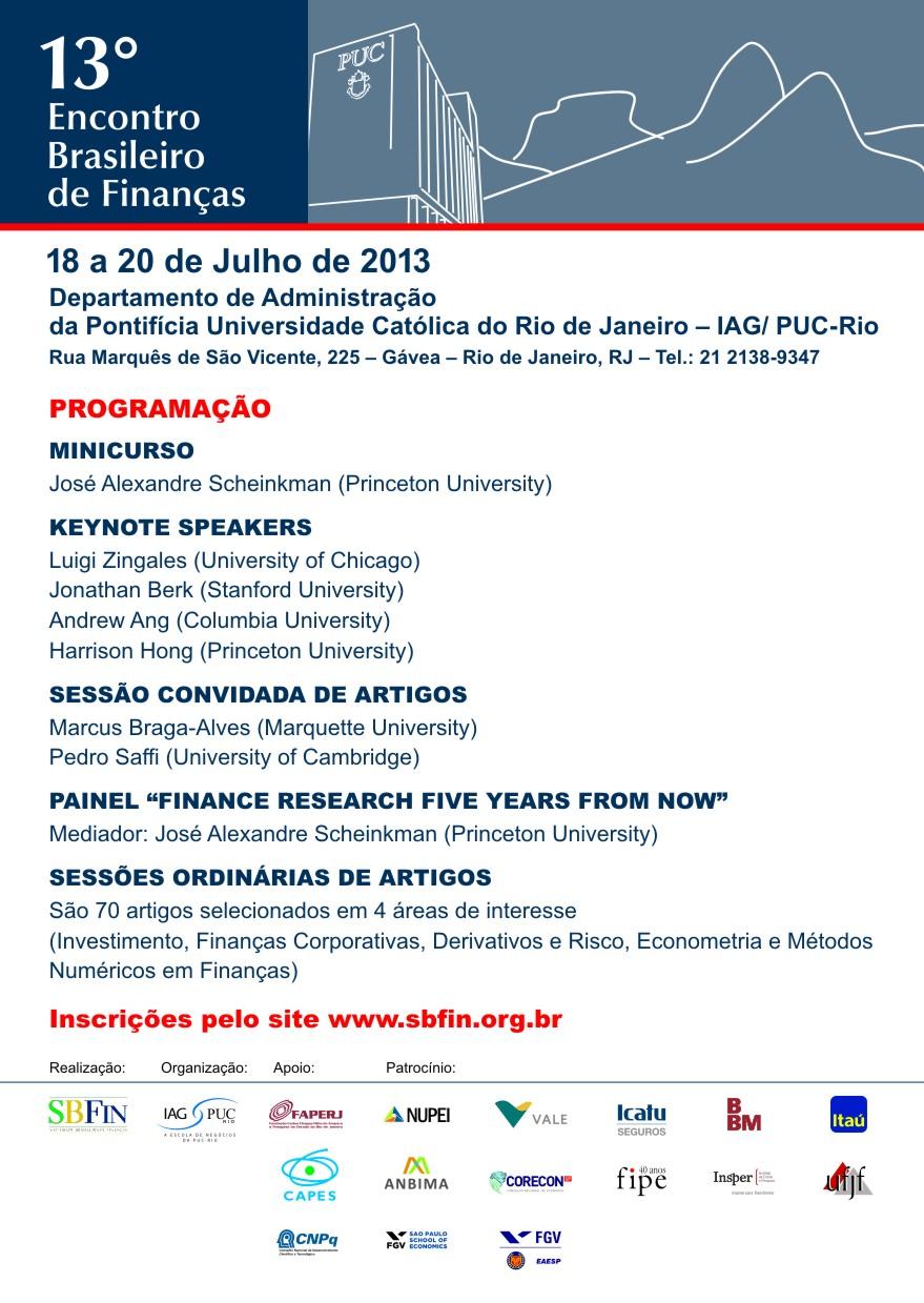 Programação 13º Encontro Brasileiro de Finanças